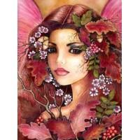 Момиче с цветя в косите -диамантен гоблен LD 0012