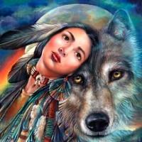 Момичето и вълк- Диамантен гоблен LD 40401