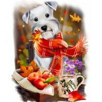 GI 304085  Диамантен гоблен - Кучето с шал