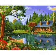 Комплект за рисуване по номера. Къща на езеро – GX 22370