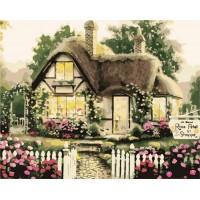 Комплект за рисуване по номера. Къща с рози – GX 7252