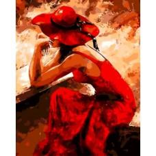 Комплект за рисуване по номера. Дама в червено – GX 8929