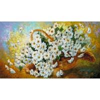 FL 30401 Диамантен гоблен - Бели цветя в кошничка