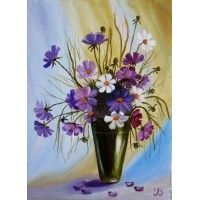 Диамантен гоблен - Красиви цветя в висока ваза