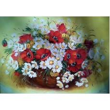 FL 304021 Диамантен гоблен - цветя в кошница