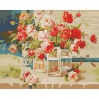 Рисуване по номера - Красиви цветя на прозореца  G 387