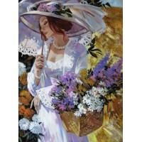 Комплект за рисуване по номера -Дама с чадър