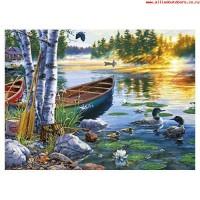 Комплект за рисуване по номера -Езеро с патици  GX 26038