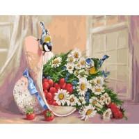 Комплект за рисуване по номера - Цветя в шапка GX 29818