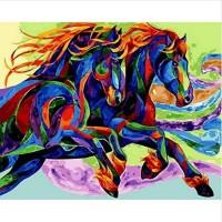 Скачащи коне- Комплект за рисуване по номера GX 30840
