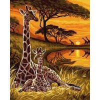 Жирафи- Комплект за рисуване по номера   GX 32559