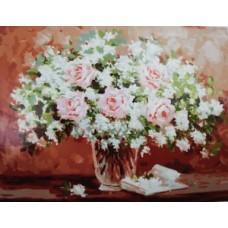 Картина по номера  Бели цветя