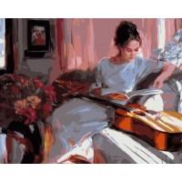Комплект за рисуване по номера -Дама с китара  GX 3775