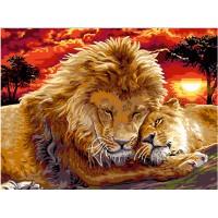 Живопис по номера - Семейство лъвове