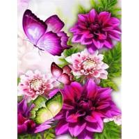 FL 304037 Пеперуди и цветя - Диамантен гоблен