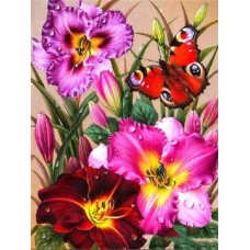 FL 304038 Пеперуди и цветя - Диамантен гоблен