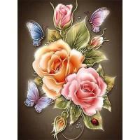 FL 304042 Пеперуди и цветя - Диамантен гоблен РАЗМЕР 30-40