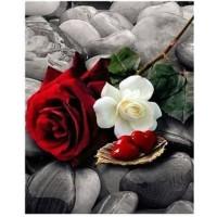 Червена и бяла рози и сърдце - Диамантен гоблен FL 34087