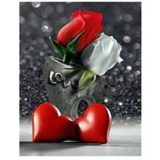 Червена и бяла рози и сърдце - Диамантен гоблен FL 34088