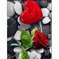 Червена роза и сърдце - Диамантен гоблен FL 34078