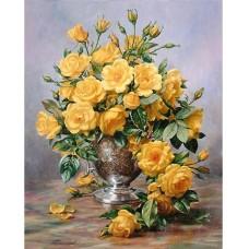 Жълти рози в висока ваза  - Диамантен гоблен  FL 304053