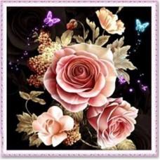 Розови рози - Диамантен гоблен FL 33060, РАЗМЕР 36Х36