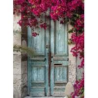 Врата с лилави цветя - Диамантен гоблен FL 34081