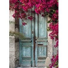 Врата с лилави цветя - Диамантен гоблен FL 34081 РАЗМЕР 30-40