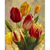 Жълти и червени лалета - Диамантен гоблен FL 34083