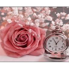 Нежна роза с часовник - диамантен гоблен FL 34046