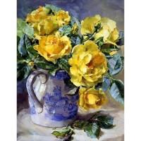 Жълти рози в ваза  - Диамантен гоблен  FL 304053