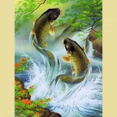 GI 304036 Диамантен гоблен - Вода и рибки привличат късмет в дома