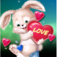 GI 30305 Диамантен гоблен -зайченце със сърдце