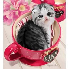 GI 30306 Диамантен гоблен -котенце в чаша