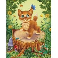 GI 304012 Диамантен гоблен - Коте на пън
