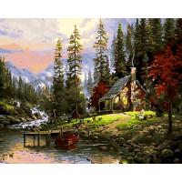 Рисуване по номера - къща на планинско езеро GX 24061