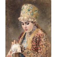 Момиче с бродерия -диамантен гоблен LD 304013