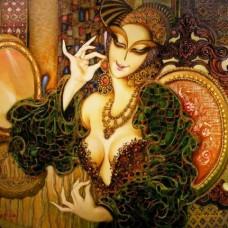 Красавица в черна рокля -диамантен гоблен LD 404012