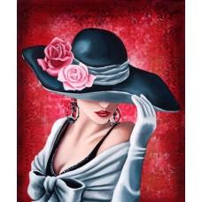 Дама в шапка с цветя-Диамантен гоблен - LD 304041