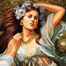 Девойка с цветя- Диамантен гобленLD 404010