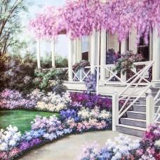 PZ 303065  Диамантен гоблен -Бяла къща с  лилави цветя