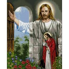 ИСУС ЧУКА НА ВРАТАТА - Диамантен гоблен IK 405041