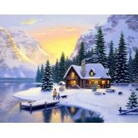 PZ 304096 диамантен гоблен - Хижа на зимно езеро