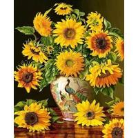 Слънчогледи във вазата  - диамантен гоблен FL 304094
