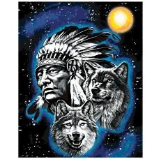 Картина по номера - Индеец с вълци ZG-1527