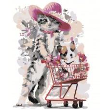 Картина по номера - Котка с количка ZG-063