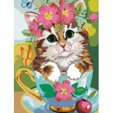Картина по номера - Котка в цветя ZE 3053