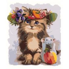 Картина по номера -  Котка и мишка  ZG-0058