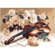 FL 304075 Цигулка и цветя - Диамантен гоблен