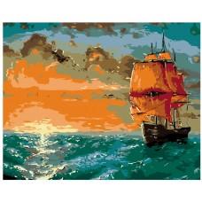 Картина по номера - Кораб при залез слънце ZG-0137